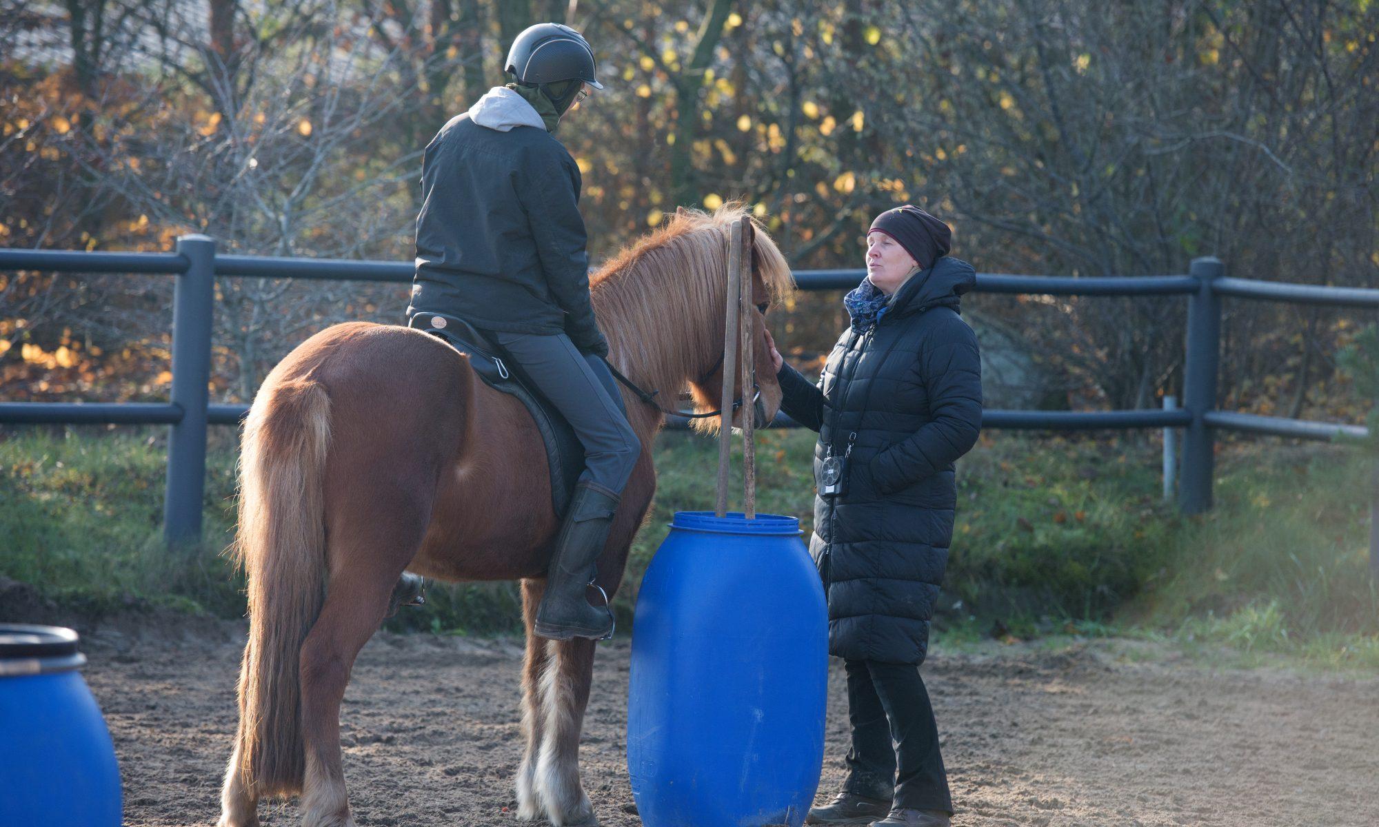 Kaja Stührenberg mit einer Reitschülerin auf einem Islandpferd